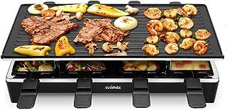 Cusimax 1500W Raclette Gril Alu Multifonction 8 Personnes, Poêles antiadhésif, Gril électrique, Appareil à Raclette, Plaqu...