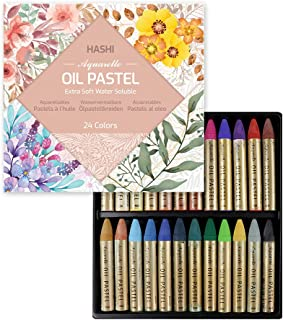 (24 Colors) HASHI Non Toxic Soft Water Soluble Oil Pastels for Artist and Professional