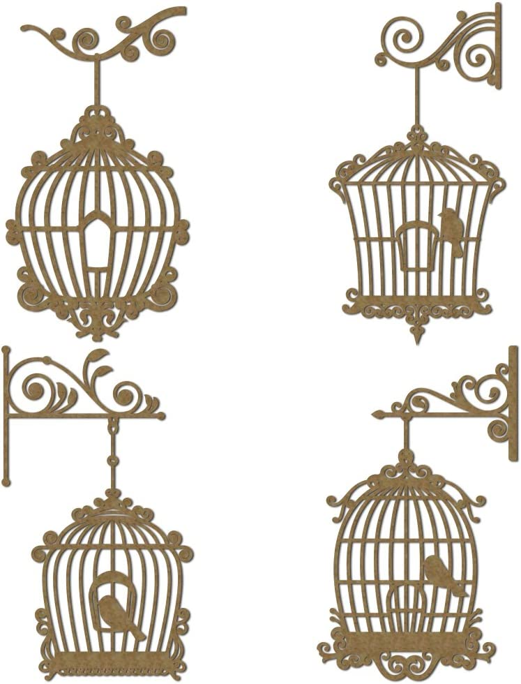 Fancy Bird Cages Set Al sold out. 1 Scrapbooking Laser Piec Chipboard 4 - Max 86% OFF Cut