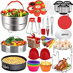 Instant Pot Accessories Kit with egg bites mold, springform pan, steamer basket, egg rack, cheat sheet decal, bowl clip, tongs, hot mitts.