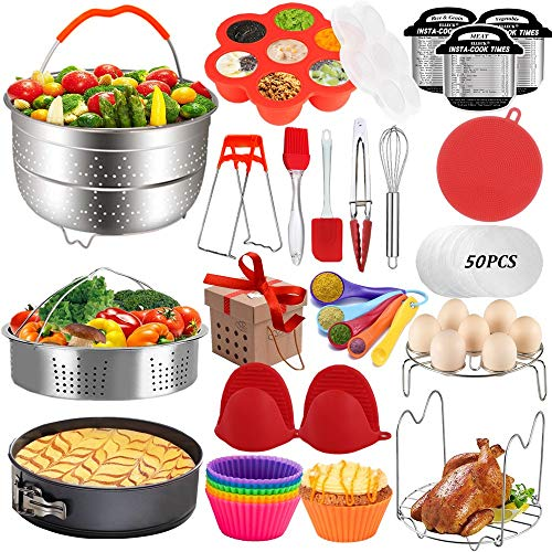 Pressure Cooker Accessories Set Compatible with Instant Pot 568 QT Steamer Basket Springform Pan Egg Rack Egg Bites Mold Cheat Sheet Magnets Bowl Clip Tong& Mitts and Moreinstanpot accessory