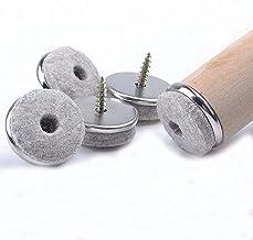 Voarge 32 stuks meubelglijders 28 mm diameter viltglijders schroeven, professionele stoelpootbeschermers vilt met schroef