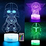 3D Illusion Night Light for Kids, LED Desk Lamp 3 Pattern & 16 Color Change Decor Nightlight, Baby Yoda/Darth Vader/Stormtrooper Toys As Best Gifts for Kids and Star Wars Fans