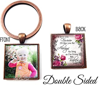 Love You Forever My Babies You'll Be Poem Double Sided Custom Photo Jewelry - Personalized Picture Pendant Necklace or Key Chain Charm