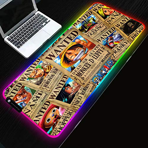 Desk Pads Anime One Piece RGB Big Size XXL Mouse Pad Gamer Anti-Slip Rubber Play Mat Led Backlight Gaming Mouse Mat for Keyboard Laptop Computer Pc,27.6×11.8 Inches