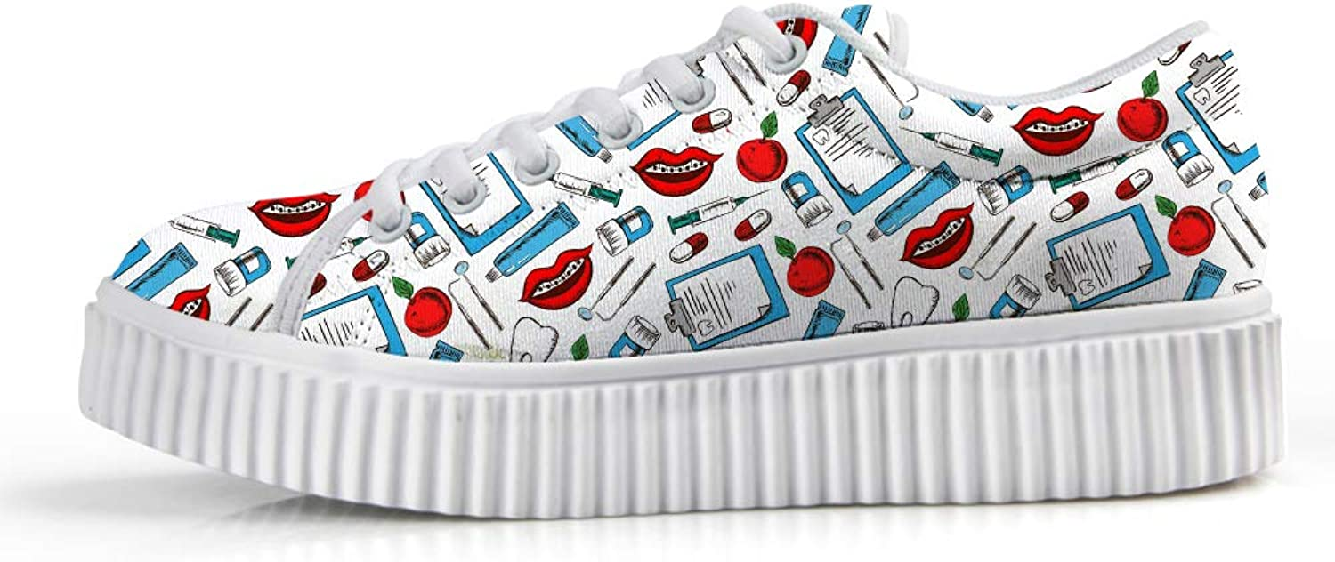 Owaheson Platform Lace up Sneaker Casual Chunky Walking shoes Low Top Women Dental Hygienist Dentist Tools Teeth