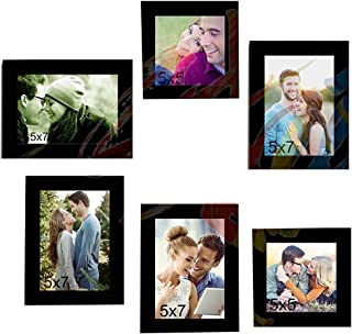 Painting Mantra & Art Street Together Forever Set of 6 Individual Wall Photo Frames with Mr & Mrs MDF Plaque - Black