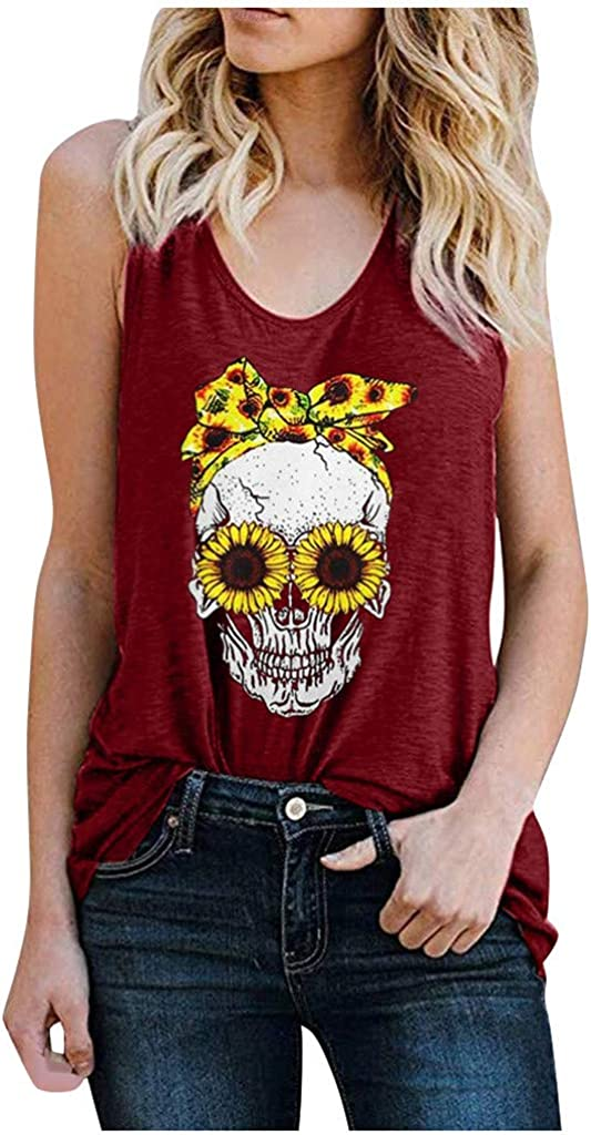 Vedolay Tank Tops for Women, Womens Summer Sling O Neck Strap Print Down Front Casual Loose Tops Sleeveless Blouses