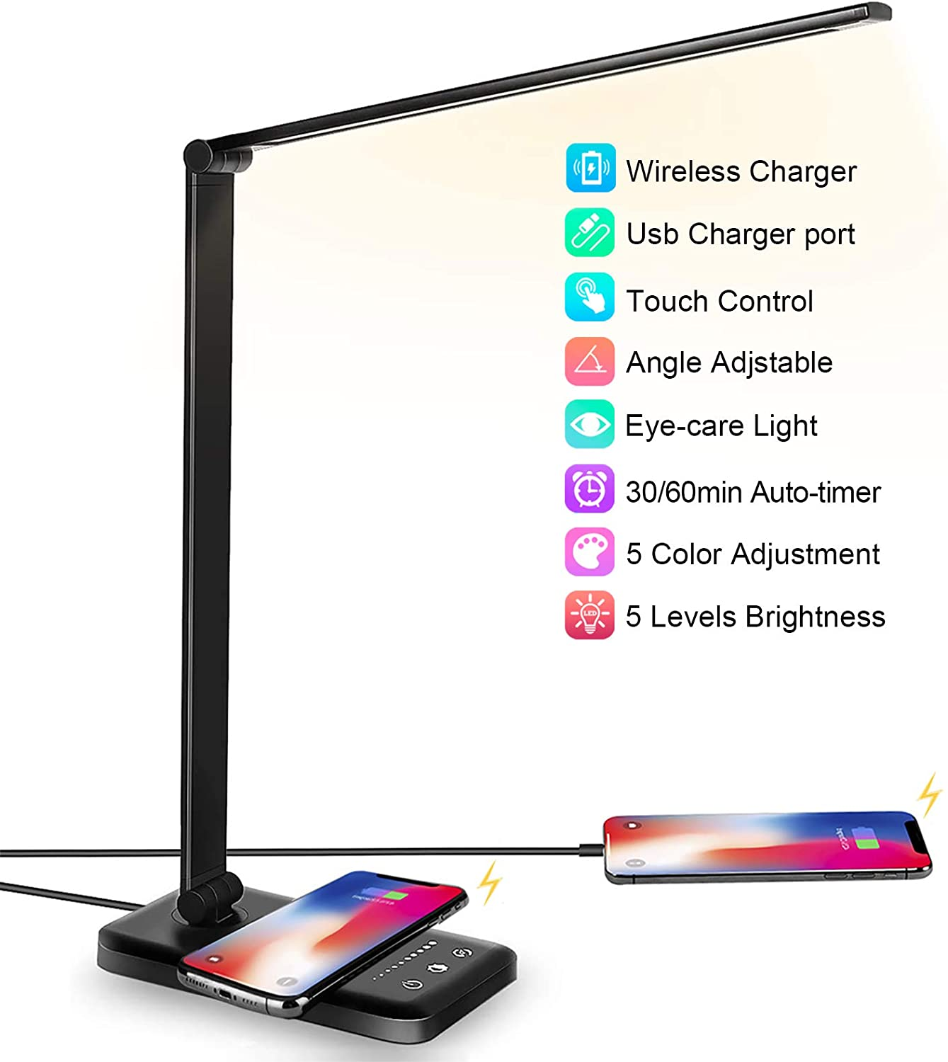 JOSTIC LED Desk Lamp with Wireless Charger