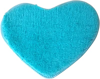 VORCOOL Sweet Heart Shape Fluffy Floor Mat Non-Slip Area Rugs Carpet for Bedroom Dinning Room 30 x 40cm (Blue)