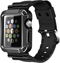 iiteeology Replacement for 38mm Rugged Protective iWatch Case and Band with Built-in Screen Protector Compatible with Apple Watch Series 3/2/1 (Space Gray)