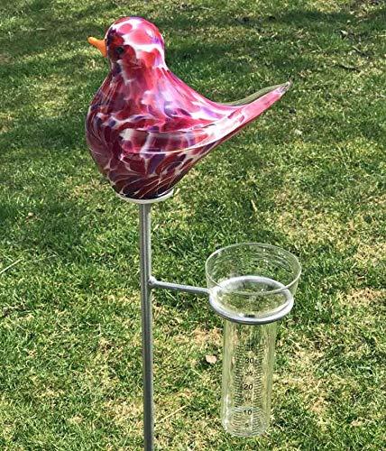 Regenmesser Vogel Malve Glas H 132 cm Gartenstecker Niederschlagsmesser Gartenstele
