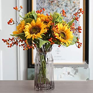 Mynse Set of Artificial Sunflowers and Fake Fruit Berry Red Mixed Flower Arrangement for Inoor Decoration