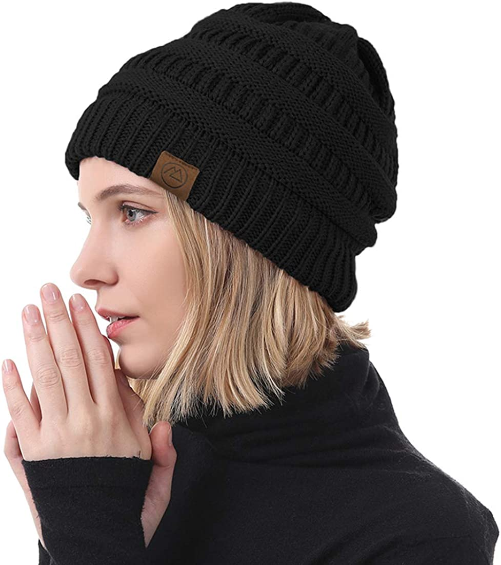 Durio Womens Cable Knit Beanie Thick Soft Warm Winter Hat Chunky Stretchy Slouchy Beanie Hats for Women