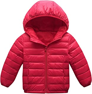 Happy Cherry Toddler Girls Down Jacket Insulated Warm Winter Windproof Long Sleeve Kids Christmas Outerwear 5-6T Red