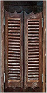 3D Decorative Film Privacy Window Film No Glue,Western,Antique Style Traditional Rustic Wild West Swinging Wooden Cowboy Bar Saloon Door,Dark Brown,for Home&Office