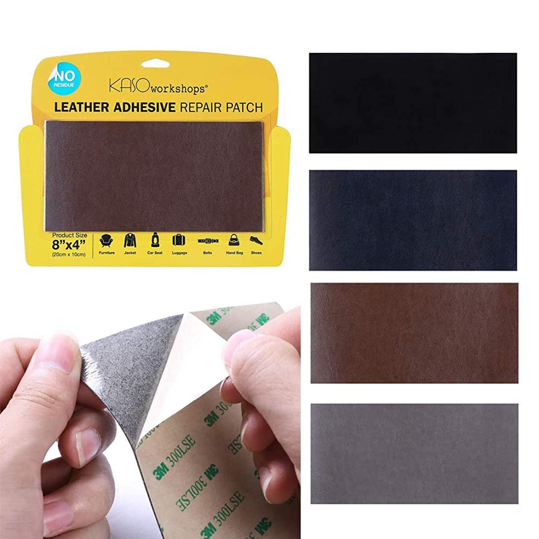 KASOworkshops Leather Repair Patch for Sofas Car Seats Handbags Jackets Leather & Vinyl Adhesive Plain 8 x 4 inch Brown