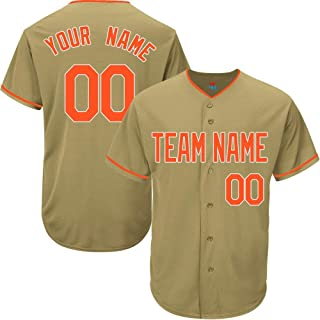 Gold Custom Baseball Jersey for Men Women Youth Game Embroidered Team Player Name & Numbers S-5XL Orange White