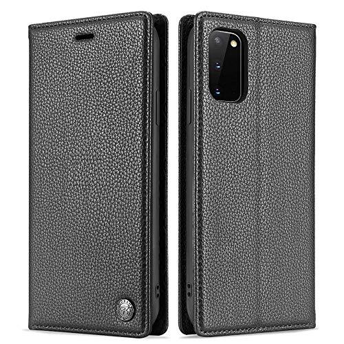 LCHULLE Lederhülle Kompatibel mit Samsung Galaxy S10 Lite/A91 Handyhülle Leder Hülle klappbar Schutzhülle Klapphülle Flip Brieftaschee für Samsung S10 Lite/A91 Schwarz