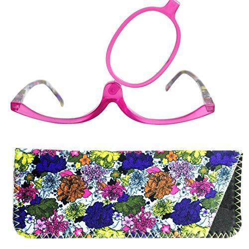 Make-Up Schminkbrille mit klappbaren Brillenglas, Modische Schminkhilfe mit GRATIS Brillenetui +3.0 Dioptrien (Violett)