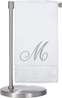 Monogrammed Bath Towel, Personalized Gift, 27 x 54 inches - Set of 1 - Silver Script Embroidered Towel - 100% Turkish Cotton- Soft Terry Finish - for Bathroom or Spa - Script M White