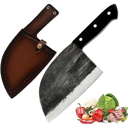 Couteau de Chef japonais fait à la main Promithi, couteau de boucher, couteau à désosser, couteau Santoku, couteau à viande, couteau d'office, couteau de cuisine, couteau de boucher, hachoir