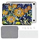 DHZ Laptop Case for MacBook Pro 13 A2159/A1989/A1706/A1708 (2019/2018/2017/2016) w/Leather Hard Shell Cover,Keyboard Cover,Sleeve,Dust Plug (4 in 1 Bundle),Sunflower