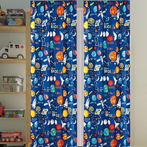 Jenin Kids Bedding Set: Space Ship Blue 4 Piece Curtain Set Panels and tie Backs (Space, Curtain)