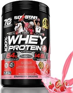 Six Star Elite Series 100% Whey Protein Powder Plus Muscle Builder, 907g Ultra-Pure Whey Protein Powder, Strawberry, 2 Pound