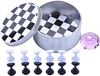 Ycyan 1 Set Nail Tips Practice Display Stand Magnetic Stuck Crystal Holder Chessboard Design for False Nails Tips