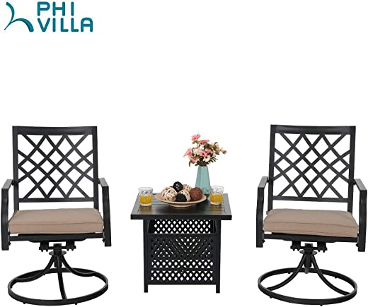 B07WVX7BSX✅PHI VILLA Swivel Chair Set of 2 Patio Outdoor Metal Furniture Set 3 Pieces, 1 Outdoor Umbrella Side Square Table with 2 Swivel Chair for Garden Yard