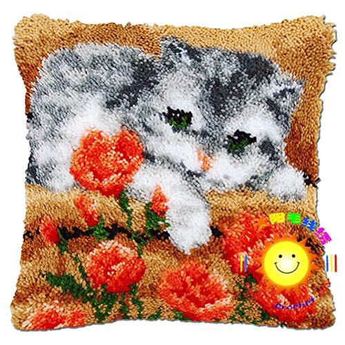 Kit de ganchos para manualidades, cuadrados, fundas de cojín, sofá, funda de cojín, búho con patrón impreso de ganchillo para niños y adultos, gato tabby, 42 x 42 cm