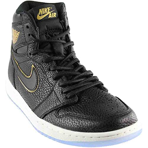 762867242d0cb9 NIKE Air Jordan 1 Retro High OG Men s Basketball Shoes 555088 031 Black Metallic  Gold (