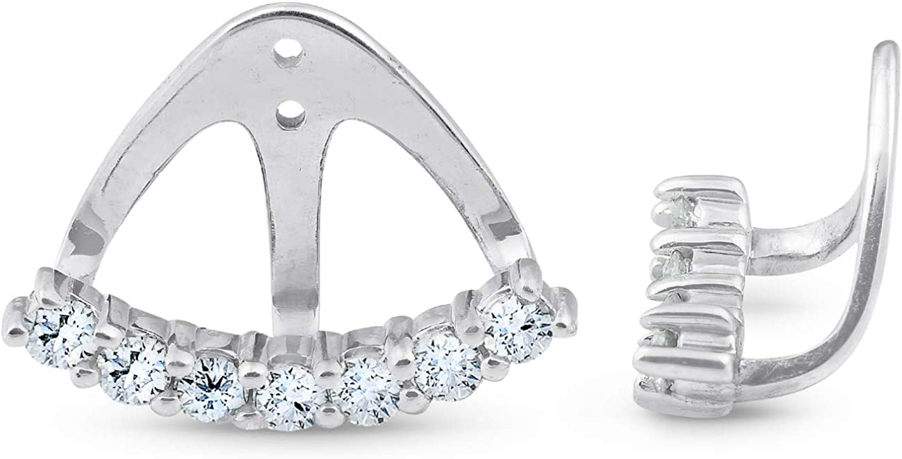 3/4 Ct Diamond Stud Earring Jackets 14k White Gold (up to 8mm)