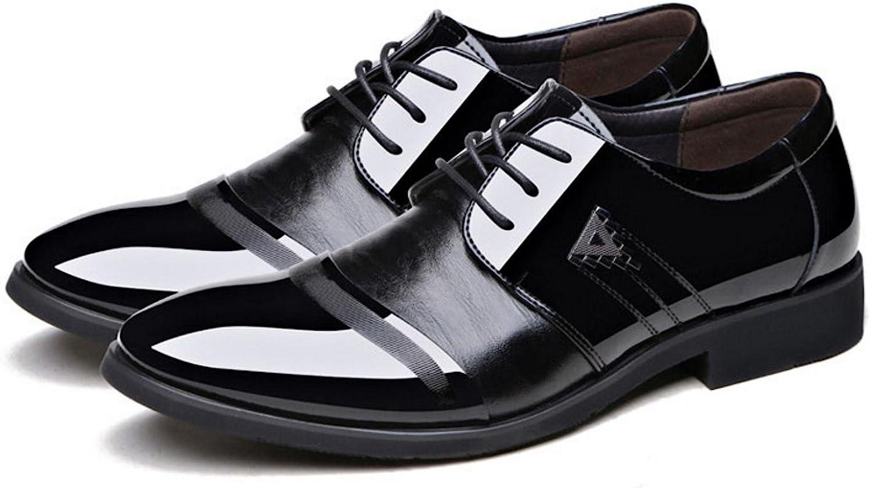 XWZG Men'S Business Dress shoes Pointed Fashion Large Lace Wedding shoes Brilliant Derby shoes