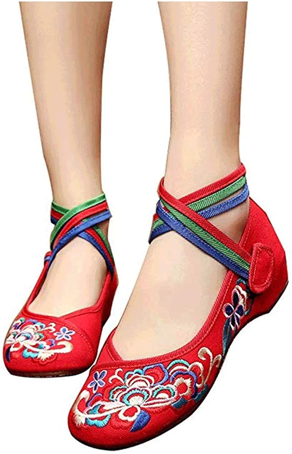 Lace-up Flower Embroidered Cloth shoes, Wedding shoes, National Wind, Beef Tendon, Square Dance shoes