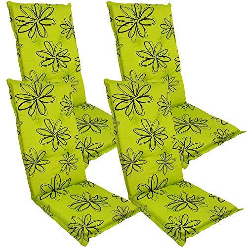 DILUMA Hochlehner Auflage Naxos für Gartenstühle 118x49 cm 4er Set Blume Grün - 6 cm Starke Stuhlauflage mit Komfortschaumkern und Bezug aus 100% Baumwolle - Made in EU mit ÖkoTex100