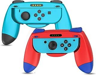 「2021新型」(2個セット) Switch Joy-con対応 ハンド グリップ ジョイコングリップ Joy-Con用 ハンドル SL/SRボタン付き 放熱 耐衝撃 人間工学 滑り止め 装着簡単 スイッチ マリオ ハンドル (レッド・ブルー)