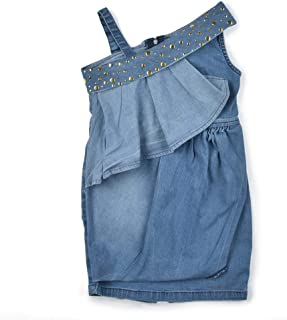 Little Kangaroos Girls Denim Dress, Light Blue