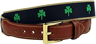 Luck of the Irish Shamrock Leather Tab Belt in Navy by Country Club Prep