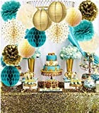 Teal Gold Birthday Party Decorations Gold Polka Dot Paper Fans Teal Gold Tissue Pom Poms Fans for Teal Gold Wedding/Engagement Party/Bridal Shower Decorations/Bachelorette Party Decorations