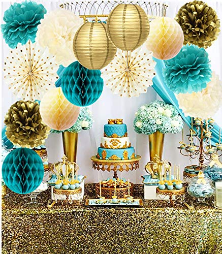 Teal Gold Birthday Party Decorations Women Gold Polka Dot Paper Fans for Teal Gold Wedding/Engagement Party/Bridal Shower Decorations/Bachelorette Party Decorations/Turquoise Party Decorations