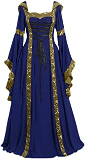 neveraway Women Lace Up Detail Bell Sleeve Retro Medieval Hood Long Beach Dress