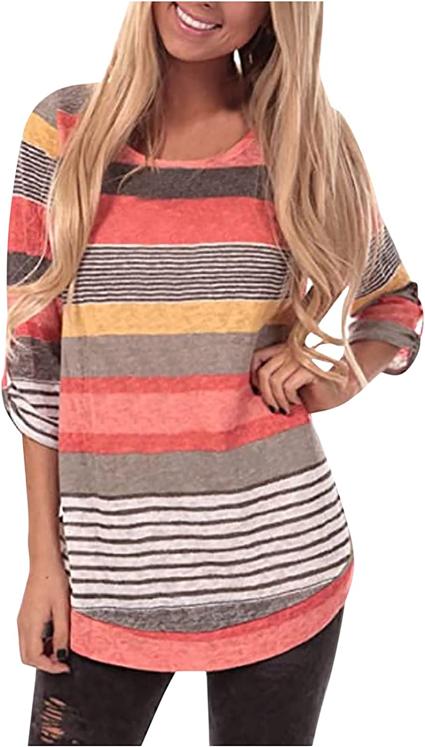 Women's autumn and winter round neck striped stitching loose fashion casual long-sleeved top