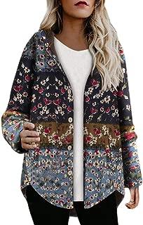 LONGDAY Casual Jacket Open Front Top CardiganWomen Floral Print Retro Coat Warm Hoodie Parka Thicken Zipper Overcoat