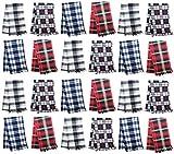 24x Winter Scarves, Warm Winter Fleece Scarf Bulk Wholesale Donation Unisex Men Women (Assorted Checkered/Plaid)