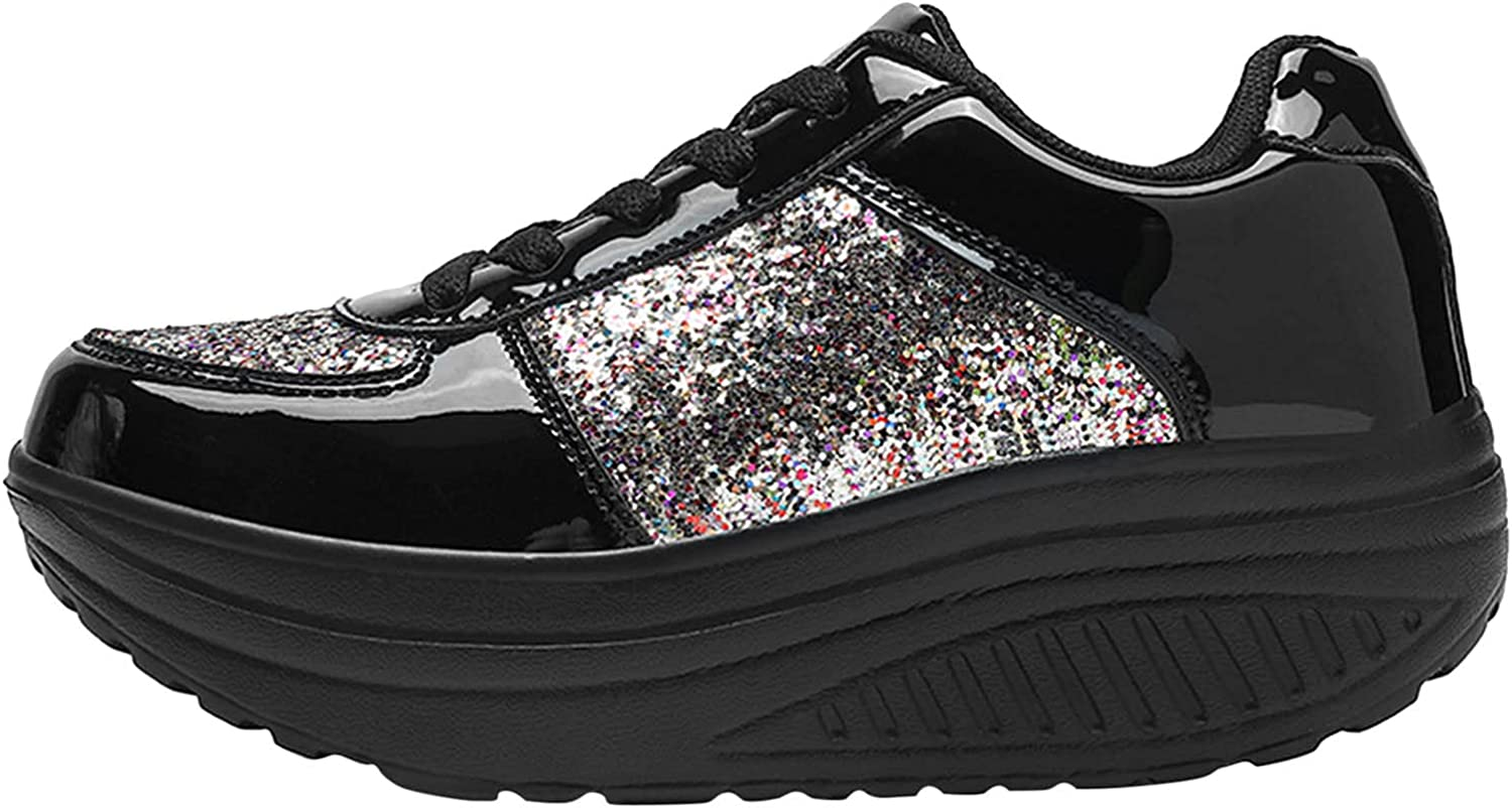 oiangi Sequined Sneakers for Women Fashion Casual Running Walking Gym Sport Shoes Comfortable Lace-up Platform Tennis Shoes