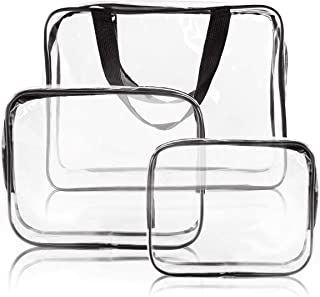 3pcs Crystal Clear Cosmetic Bag TSA Air Travel Toiletry Bag Set with Zipper Vinyl PVC Make-up Pouch Handle Straps for Wome...