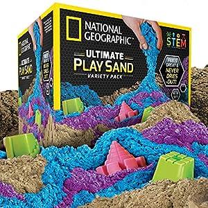 National Geographic Paquete Combinado de Arena cinética 900 Gramos en Cada Paquete de Arena Azul, Morada y Natural con moldes de Castillo. Una Actividad sensorial cinética.