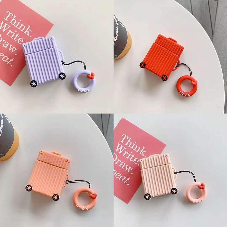 家庭削る敬意を表するPINGF ワイヤレスヘッドホンケース 該当するクリエイティブ旅行荷物Airpods 1/2保護カバーアップルイヤホンセットシリコンリング人格かわいい (Color : Pink, Size : Airpods)
